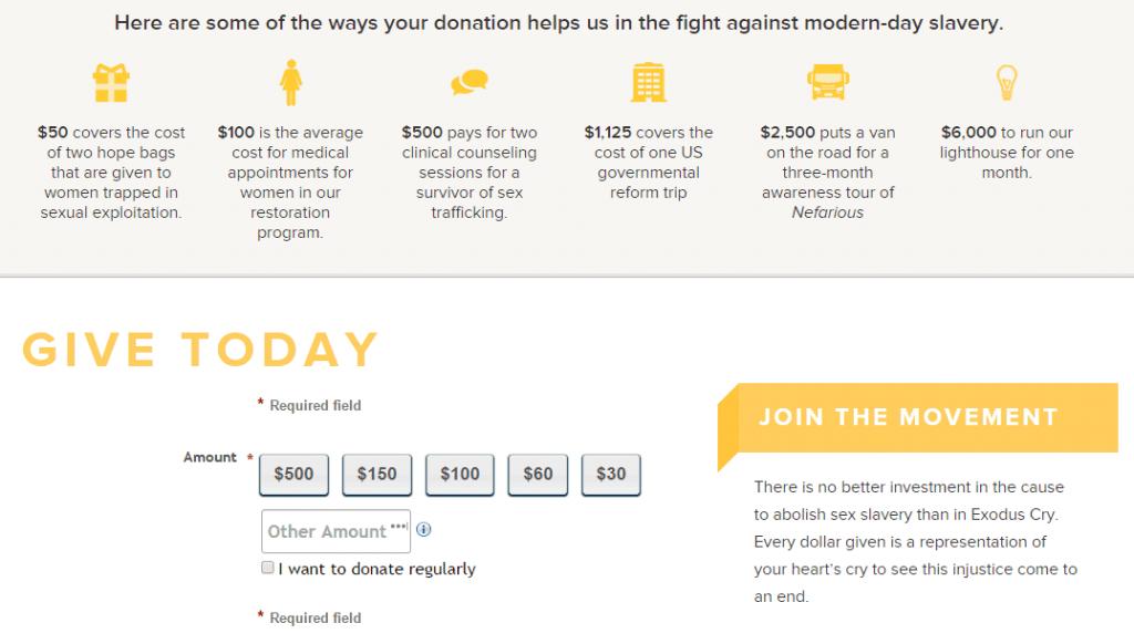 online donation nonprofit website design elements