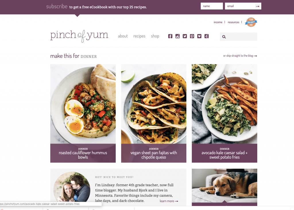 pinch of yum website design